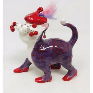 Lacombe Red Hat Society Purple Cat Ornament Kitten
